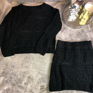 Two piece knit skirt and sweater set |